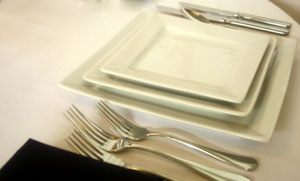 Pillivuyt Porcelain - Square crockery hire : Friar Tucks Catering Equipment Hire
